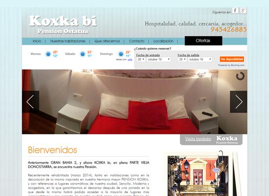 Portfolio. Diseño Web Pensión Koxka Bi