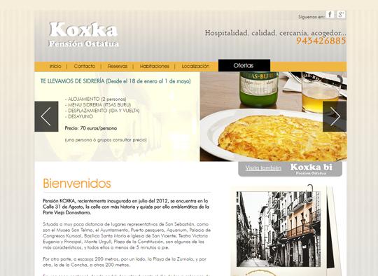 Portfolio. Diseño Web Pensión Koxka