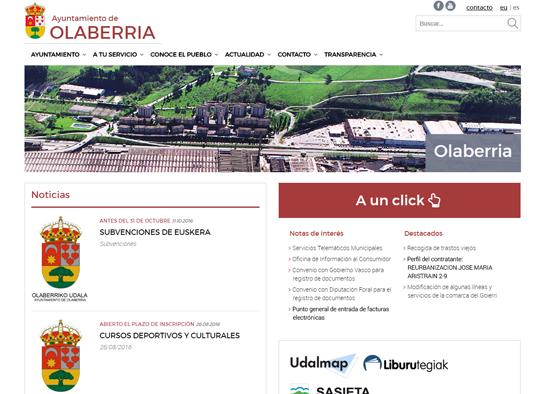 Portfolio. Diseño Web Ayuntamiento de Olaberria
